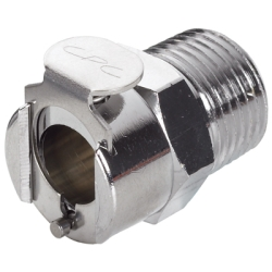 "3/8"" NPT In-Line LC Series Chrome Plated Brass Coupling Body - Straight Thru (Insert Sold Separately)"