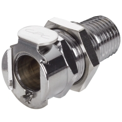 "1/4"" NPT LC Series Chrome Plated Brass Panel Mount Body - Straight Thru (Insert Sold Separately)"