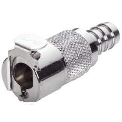 "3/8"" In-Line Hose Barb LC Series Chrome Plated Brass Inline Body - Shutoff"