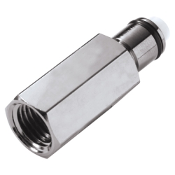 "1/4"" FNPT In-Line LC Series Chrome Plated Brass Insert - Shutoff"