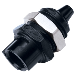"1/8"" Hose Barb Acetal Black Panel Mount Coupling Body - Straight Thru (Insert Sold Separately)"
