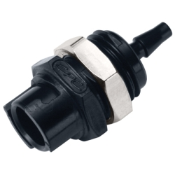 3mm Hose Barb Acetal Black Panel Mount Coupling Body - Straight Thru (Insert Sold Separately)