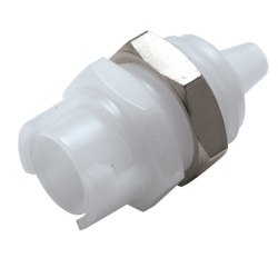 "1/8"" Hose Barb Polypropylene Panel Mount Coupling Body - Straight Thru (Insert Sold Separately)"