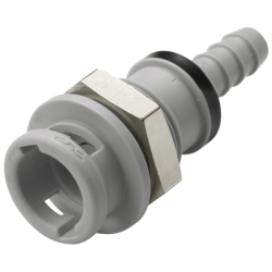 "1/4"" Hose Barb Grey PP Valved Panel Mount Coupling Body - .88""Dia. X 2.05""L"