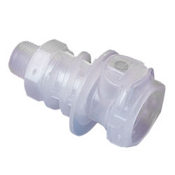 "3/8"" MNPT CQH Series Polypropylene In-Line Coupling Body - Shutoff (Insert Sold Separately)"