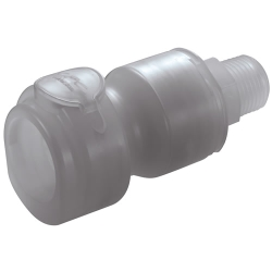 "1/2"" MNPT CQG Series Polypropylene In-Line Coupling Body - Shutoff (Insert Sold Separately)"