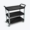 Black Large Luxor 3 Shelf Serving Cart
