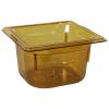 1.6 Quart Amber Polycarbonate High Temperature 1/6 Food Pan