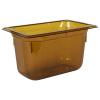 3.8 Quart Amber Polycarbonate High Temperature 1/4 Food Pan
