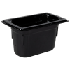 0.9 Quart Black Polycarbonate High Temperature 1/9 Food Pan