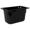 3.8 Quart Black Polycarbonate High Temperature 1/4 Food Pan