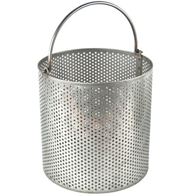 "Stainless Steel Dipping Basket 3/16"" Holes on 3/8"" Centers"