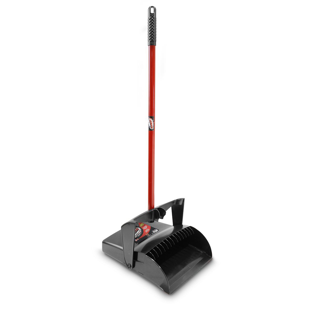 "12"" Black/Red Libman® Upright Lobby Dust Pan - Open Lid"