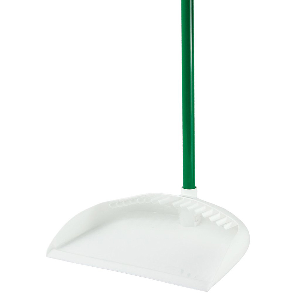 """12"""" White/Green Libman® Upright Dust Pan with Handle"""