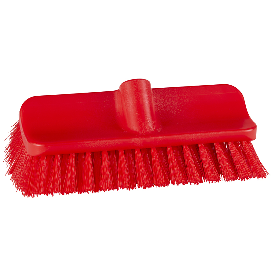 "10"" ColorCore Red High-Low Stiff Deck Brush"