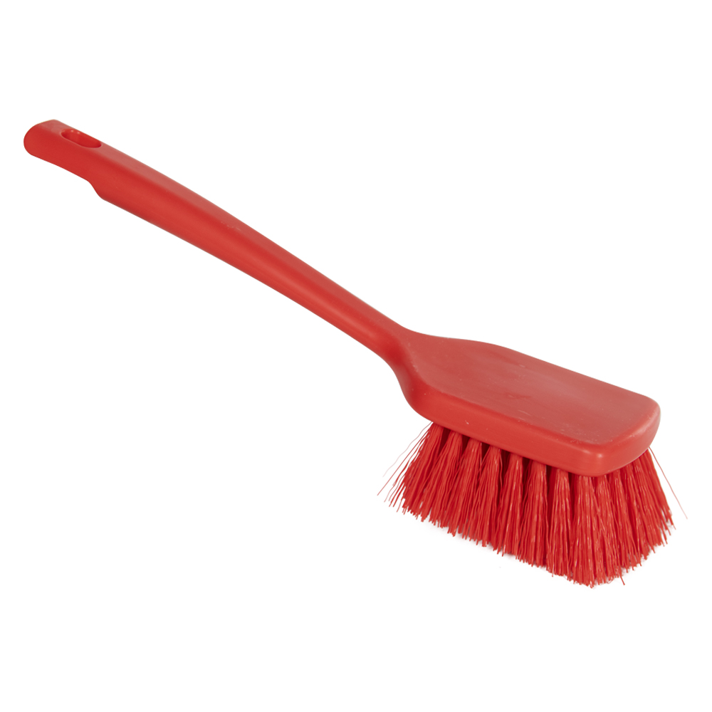 "ColorCore Red 12"" Short Handle Scrub Brush"