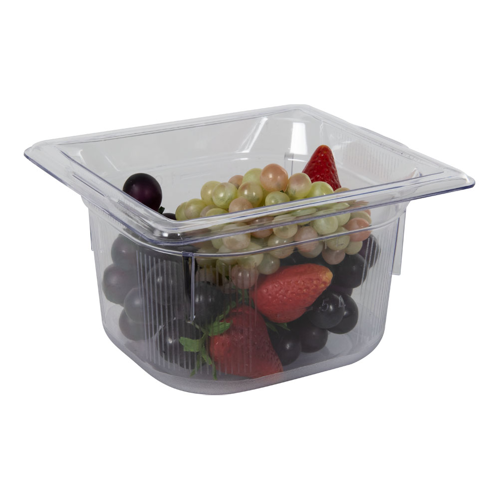 1.6 Quart Clear Polycarbonate Low Temperature 1/6 Food Pan (Cover Sold Separately)