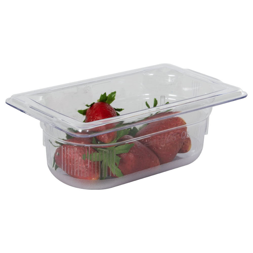 0.6 Quart Clear Polycarbonate Low Temperature 1/9 Food Pan (Cover Sold Separately)