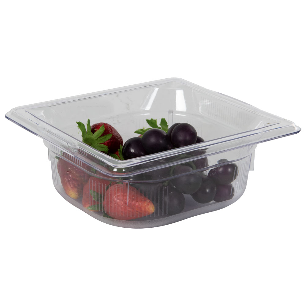 1.1 Quart Clear Polycarbonate Low Temperature 1/6 Food Pan (Cover Sold Separately)