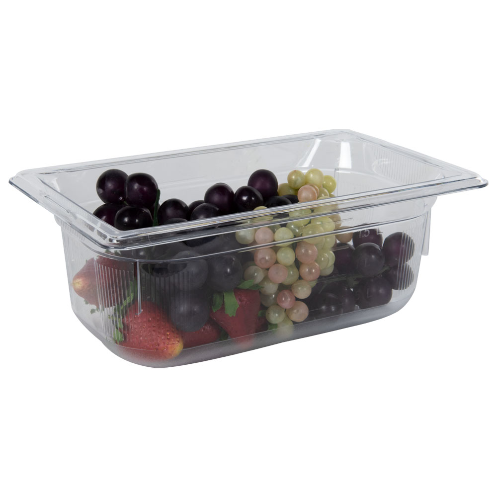 2.7 Quart Clear Polycarbonate Low Temperature 1/4 Food Pan (Cover Sold Separately)