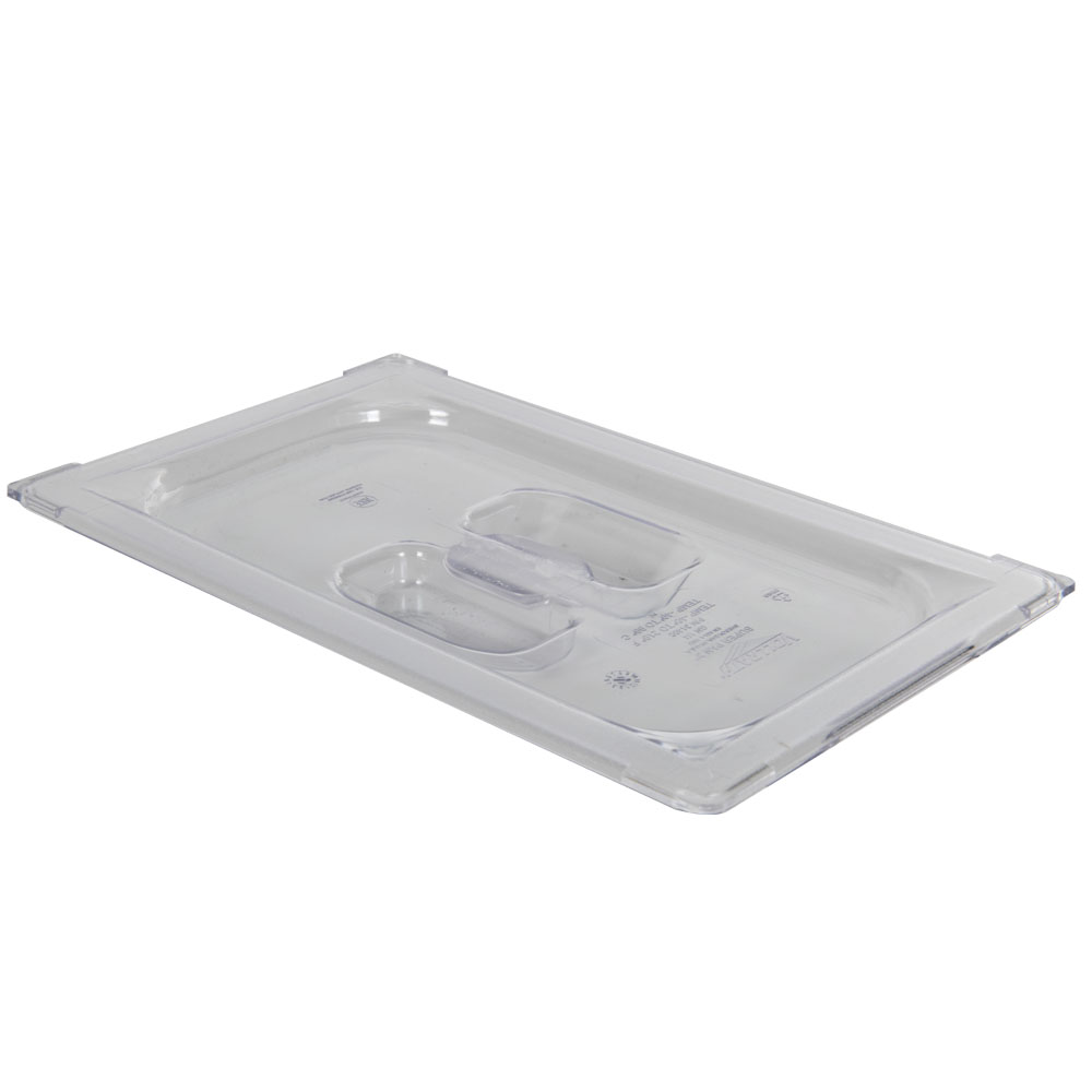 Clear 1/4 Food Pan Solid Cover with Molded Handle