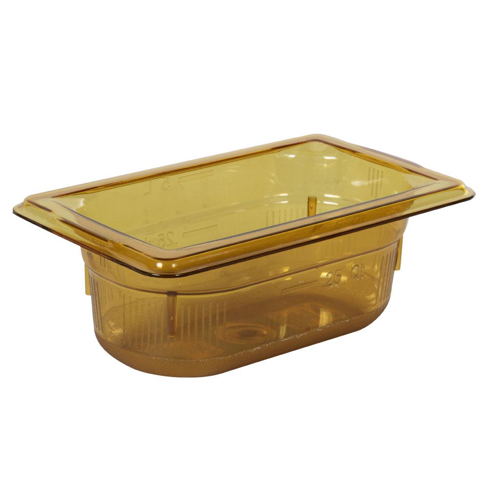 0.6 Quart Amber Polycarbonate High Temperature 1/9 Food Pan