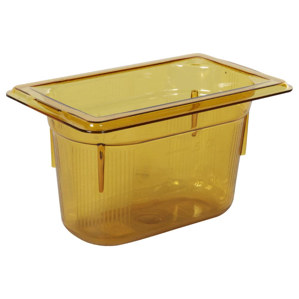 0.9 Quart Amber Polycarbonate High Temperature 1/9 Food Pan