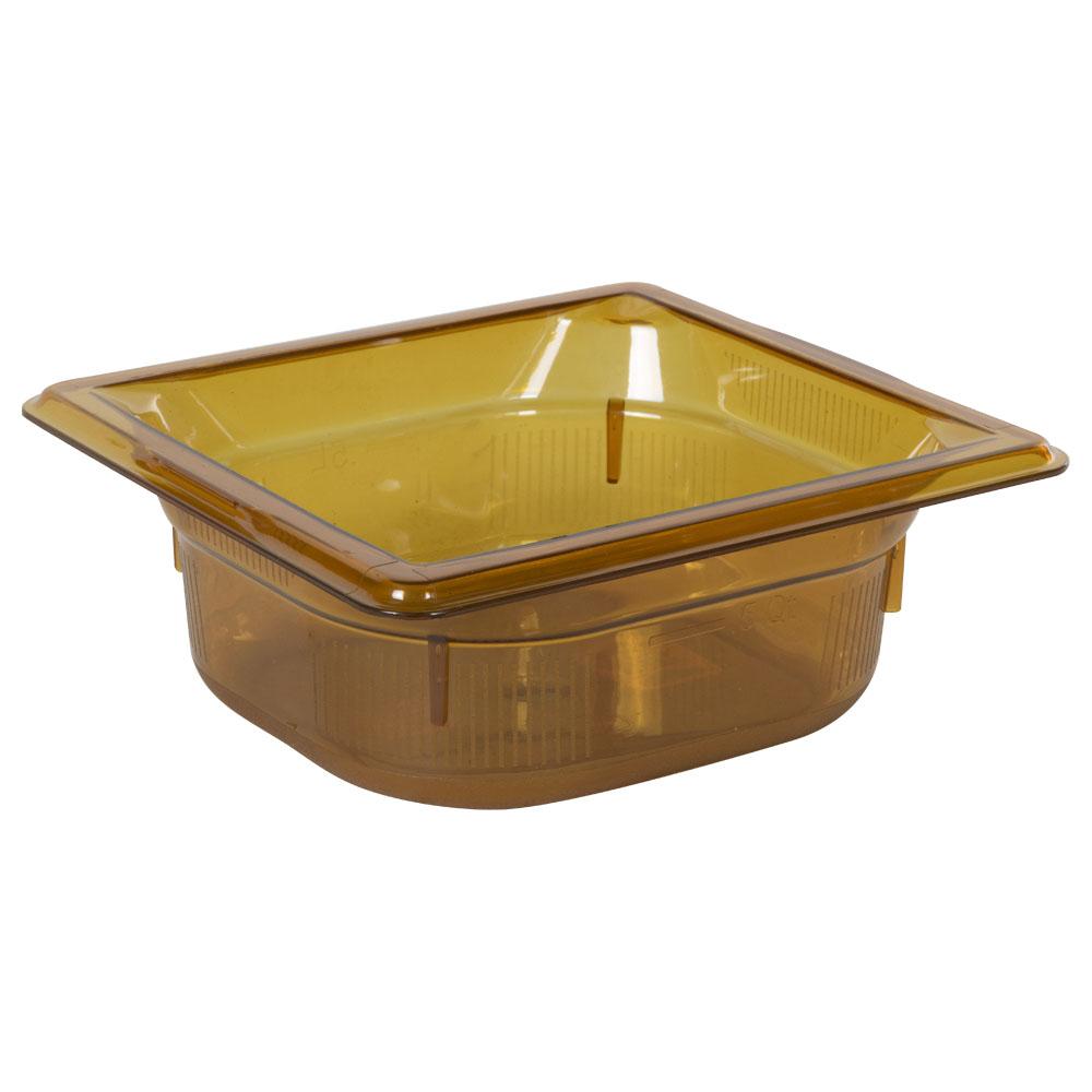 1.1 Quart Amber Polycarbonate High Temperature 1/6 Food Pan