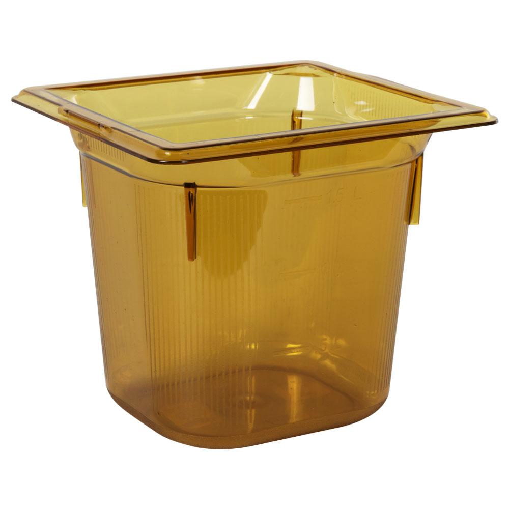 2.2 Quart Amber Polycarbonate High Temperature 1/6 Food Pan