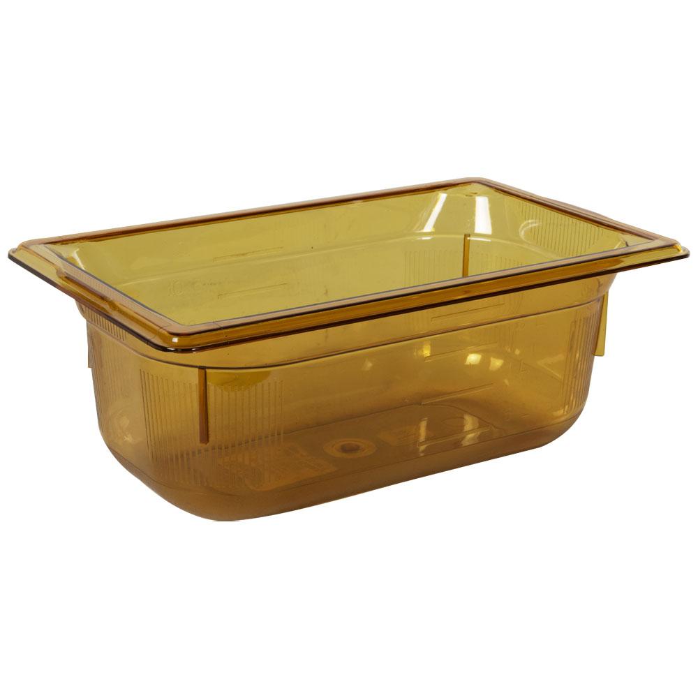 2.7 Quart Amber Polycarbonate High Temperature 1/4 Food Pan