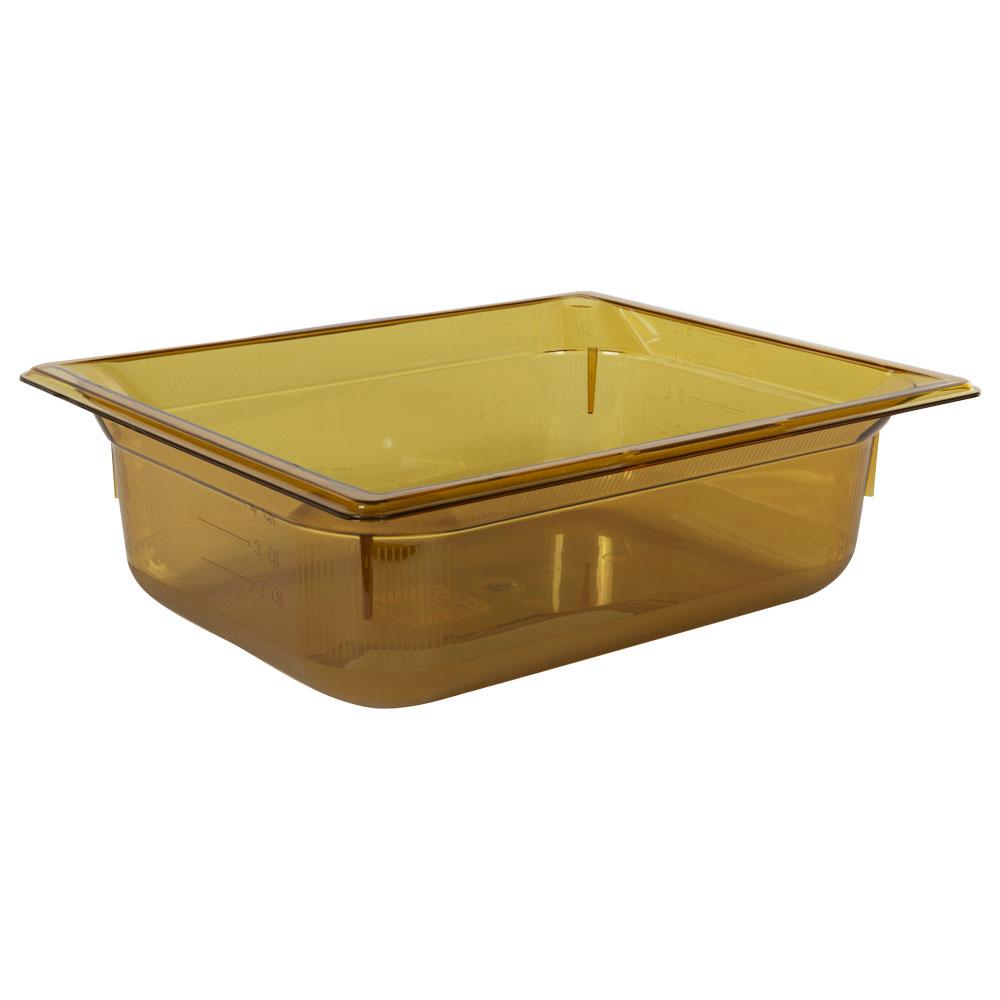 5.9 Quart Amber Polycarbonate High Temperature 1/2 Food Pan