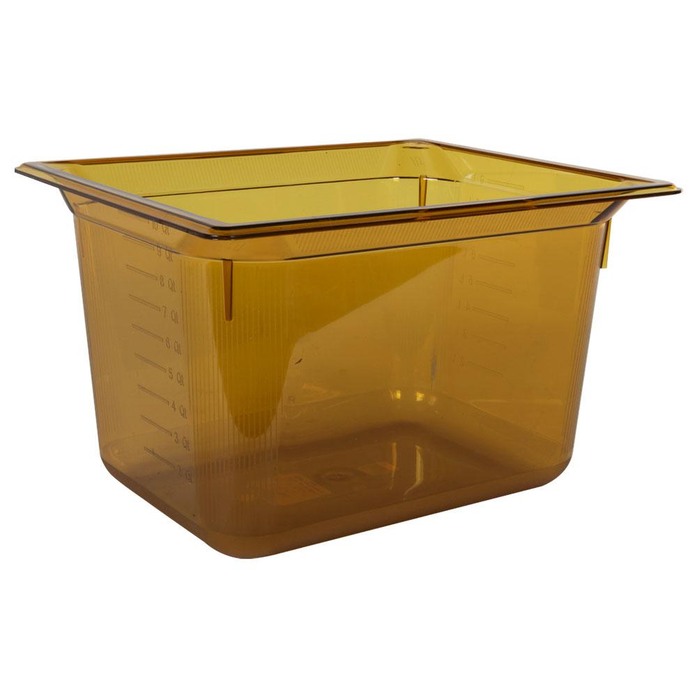 11 Quart Amber Polycarbonate High Temperature 1/2 Food Pan