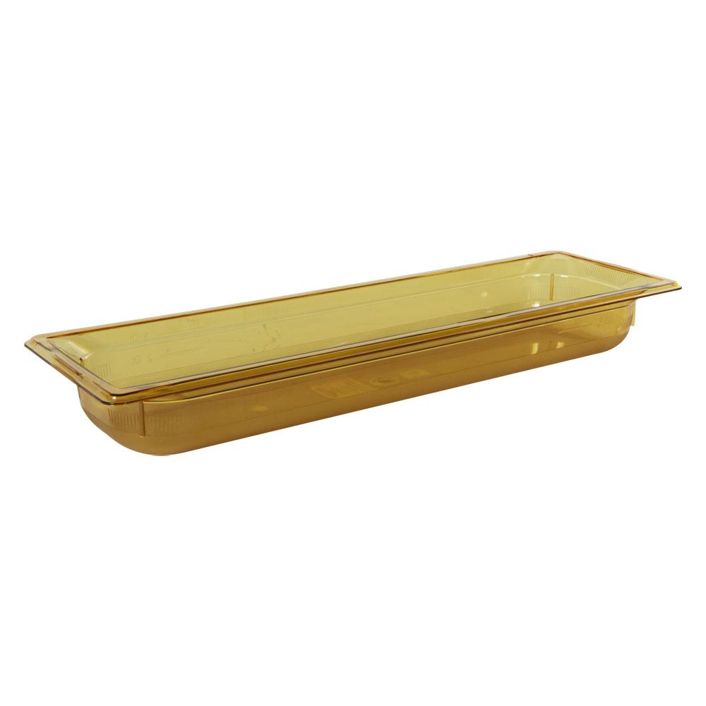 3.8 Quart Amber Polycarbonate High Temperature 1/2 Long Food Pan