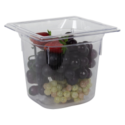 2.2 Quart Clear Polycarbonate Low Temperature 1/6 Food Pan (Cover Sold Separately)