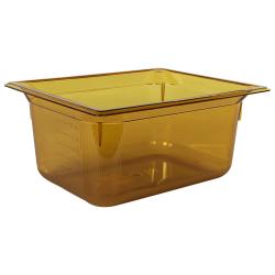 8.6 Quart Amber Polycarbonate High Temperature 1/2 Food Pan