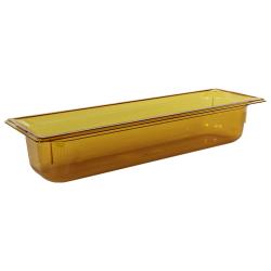 5.7 Quart Amber Polycarbonate High Temperature 1/2 Long Food Pan
