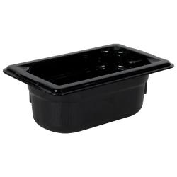 0.6 Quart Black Polycarbonate High Temperature 1/9 Food Pan