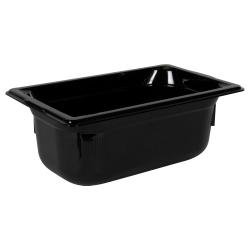 2.7 Quart Black Polycarbonate High Temperature 1/4 Food Pan