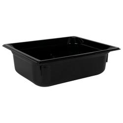 5.9 Quart Black Polycarbonate High Temperature 1/2 Food Pan