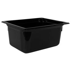 8.6 Quart Black Polycarbonate High Temperature 1/2 Food Pan