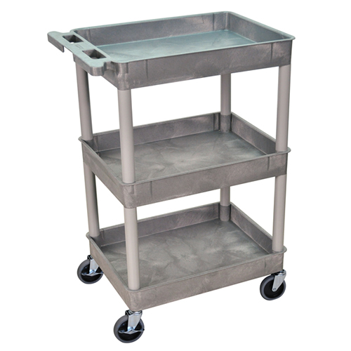 Gray 3 Shelf (300 lbs. Capacity) Luxor Tub Cart