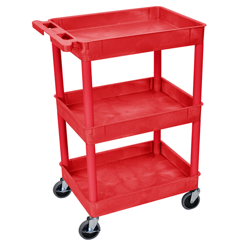 Red 3 Shelf (300 lbs. Capacity) Tub Cart