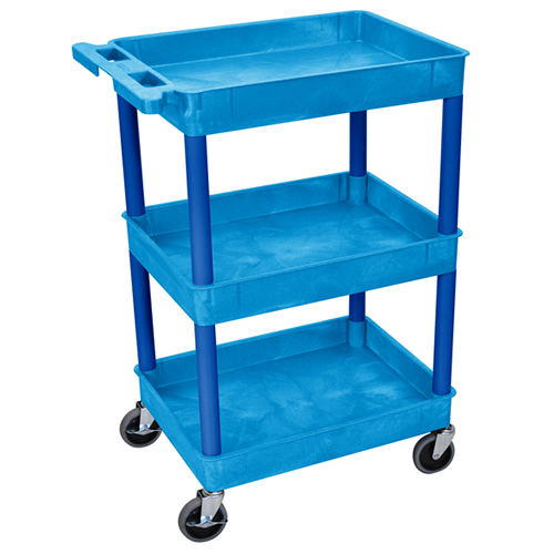 Blue 3 Shelf (300 lbs. Capacity) Tub Cart