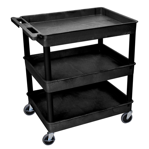 Black 3 Shelf (400 lbs. Capacity) Luxor Tub Cart