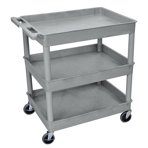 Gray 3 Shelf (400 lbs. Capacity) Tub Cart