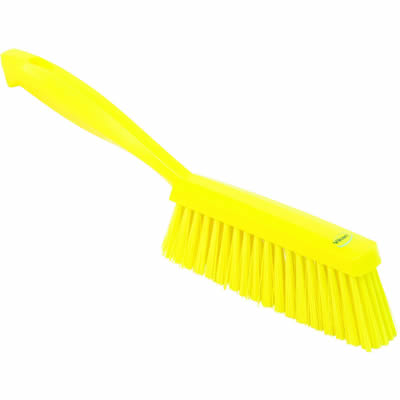 "Vikan® Yellow 14"" Edge Bench Brush with Medium Bristles"