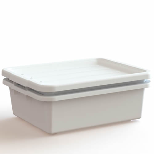 "White Drain Box Kit - 7"" Bus Box, 5"" Perforated Bus Box & Lid"