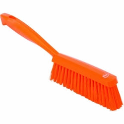 "Vikan® Orange 14"" Edge Bench Brush with Medium Bristles"
