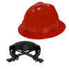 V-Gard® Full Brim Red HDPE Hat with Ratchet System
