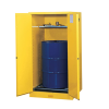 55 Gallon Self -Close Justrite® Sure-Grip® EX Single Vertical Drum Cabinet with Roller Assembly